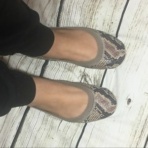 Yosi Samra foldable ballet flats in neutral snake